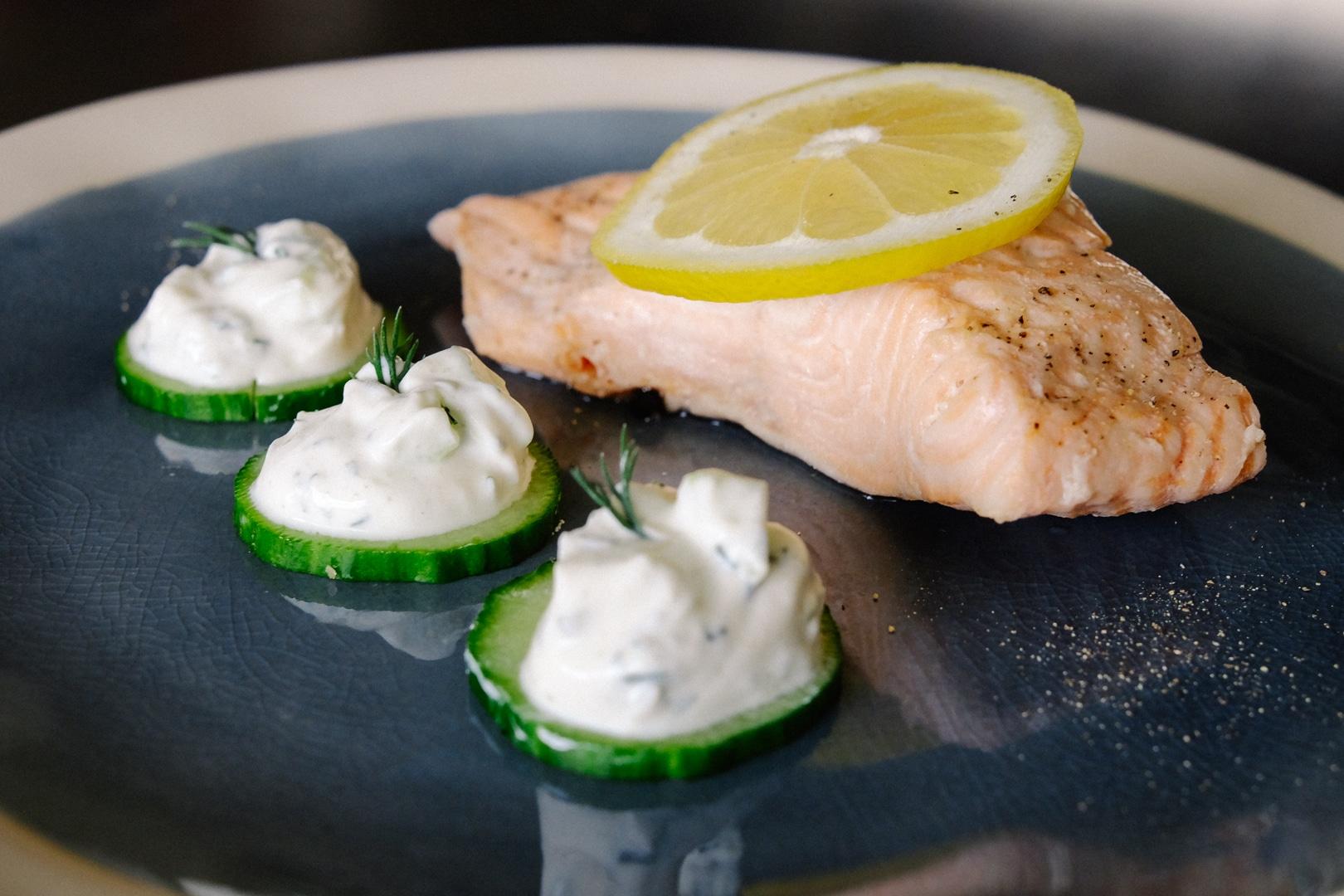 Poached Salmon and Cucumber Raita Dish