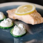 Poached Salmon Fillets with Cucumber Raita