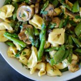 Three Cheese Tortellini with Asparagus, Mushrooms and Peas