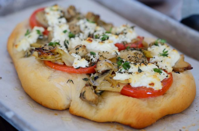Artichoke, Tomato and Goat Cheese Flatbread Pizza