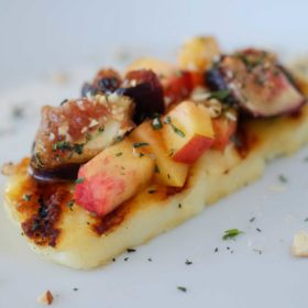 grilled halloumi cheese with grilled figs and nectarines