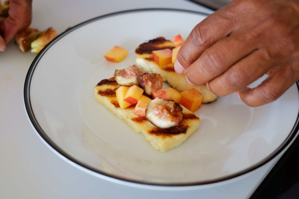 plating grilled halloumi and figs with nectarines