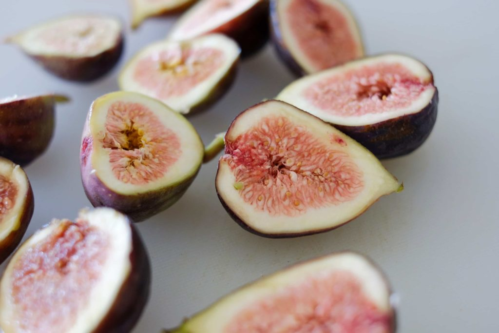 halved fresh figs