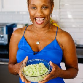 Lisa with Chopped Cucumber