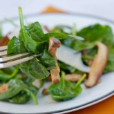 Baby Spinach, Pancetta and Shiitake Mushroom Salad
