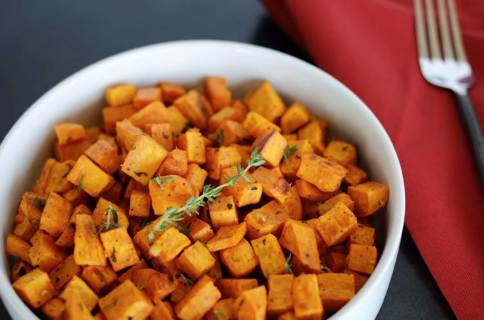 Roasted Sweet Potatoes with Garlic and Thyme
