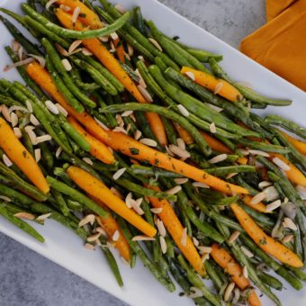 Roasted green beans and carrots with shallots and almonds