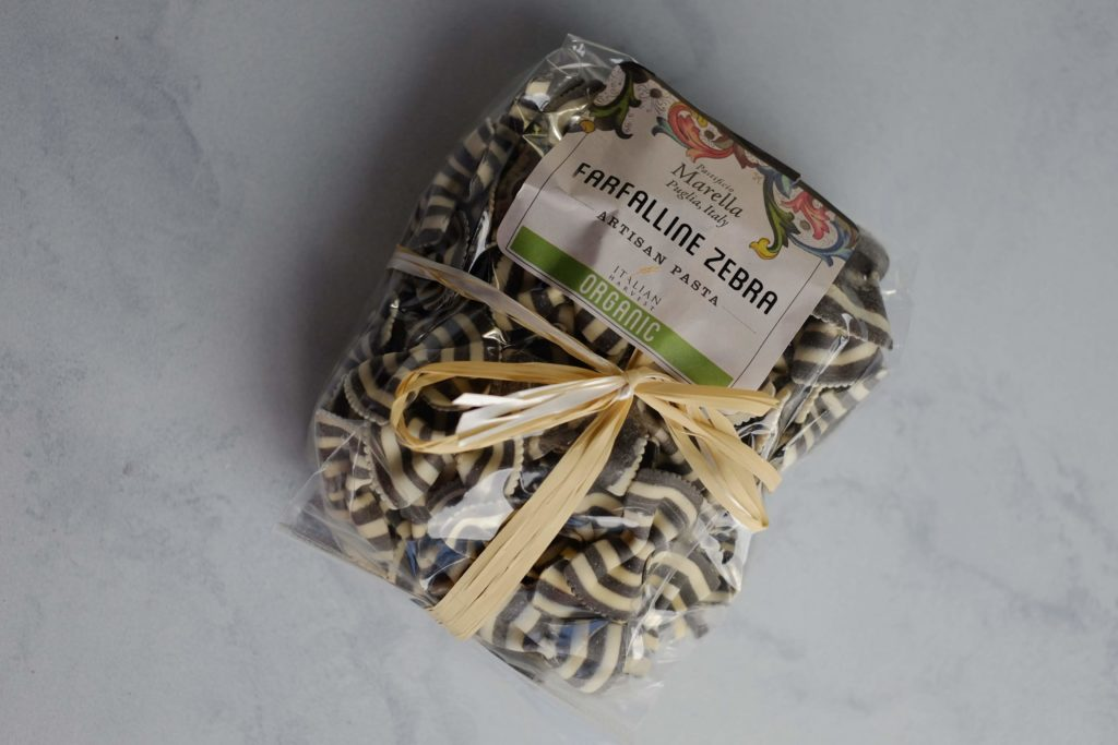 Black and white pasta in package