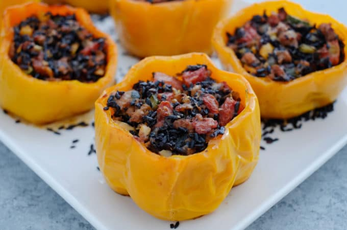 Stuffed Peppers with Ground Turkey and Black Rice