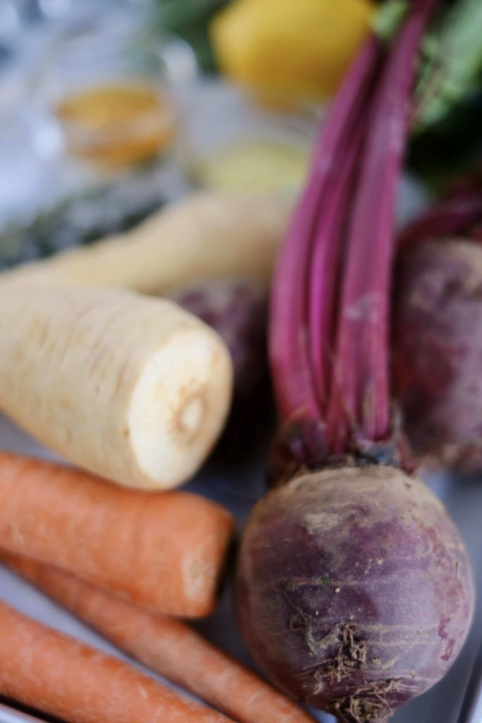 Raw beets carrots and parsni