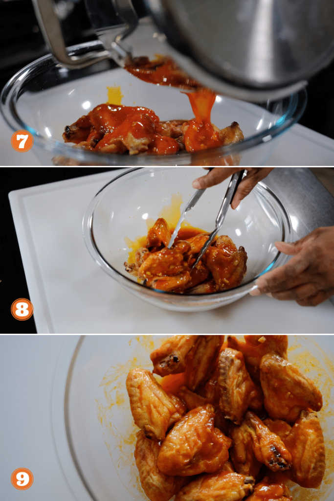 Three photos of how to make put sauce on baked chicken wings