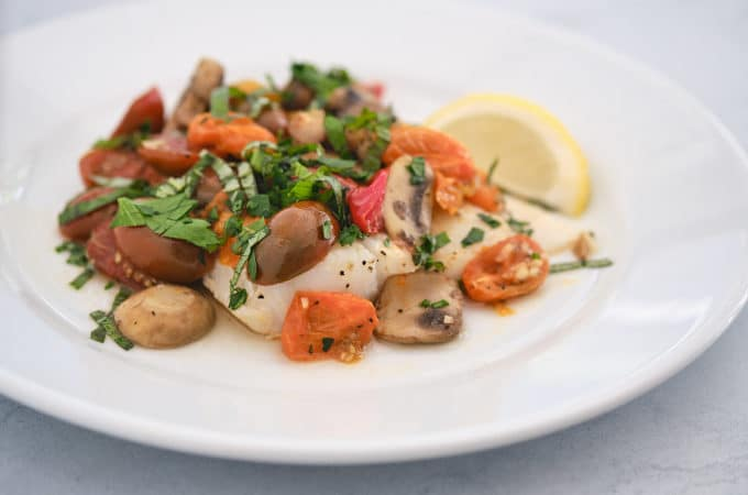 Baked Cod with Tomatoes and Mushrooms