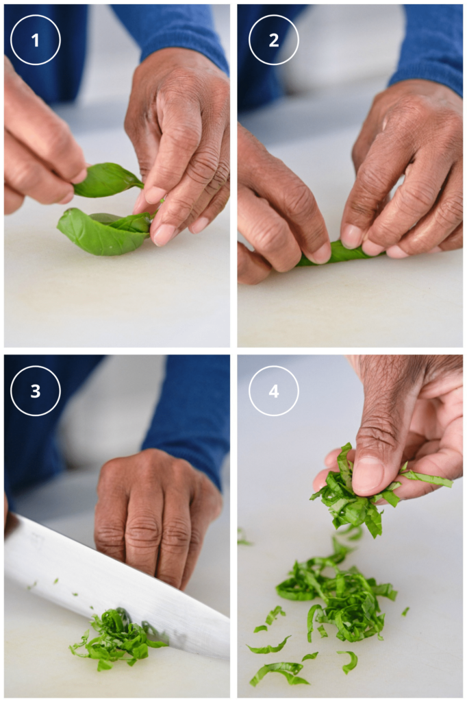 four photos of how to cut basil into strips