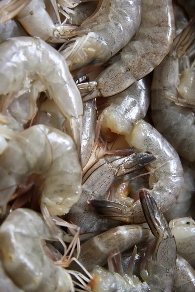 a close up of raw shrimp with tails on