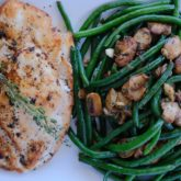 Chicken Cutlets with Sautéed Green Beans and Mushrooms